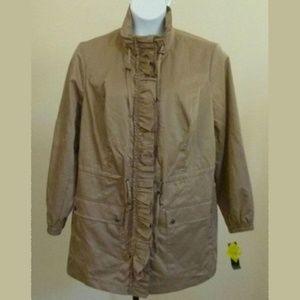 NWT Style & Co Taupe Ruffle Jacket Raincoat 16W